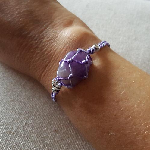 Purple Amethyst Macrame Bracelet