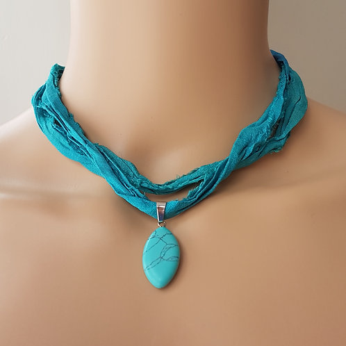 Turquoise Sari Silk Choker
