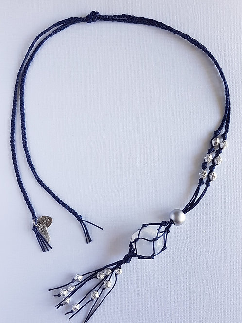 Navy blue macrame pendant with crystal