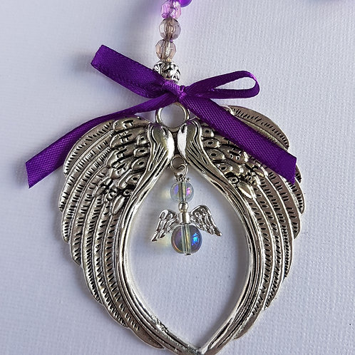 Angel Wing Hanging Decoration with Purple Angle