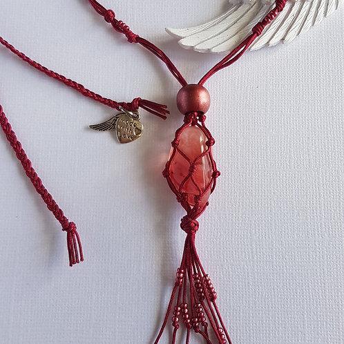Cherry Quartz Macrame Necklace