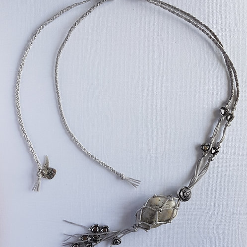 Grey Macrame Necklace