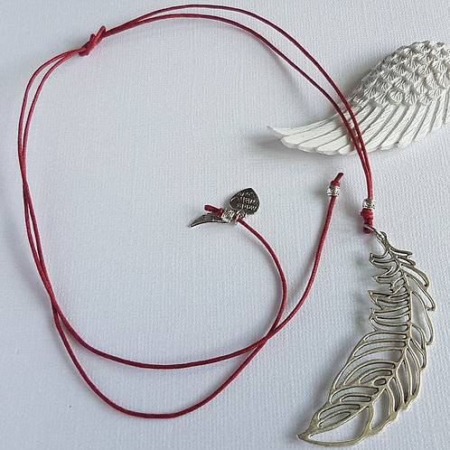 Dark Red Cord Necklace with Feather Charm