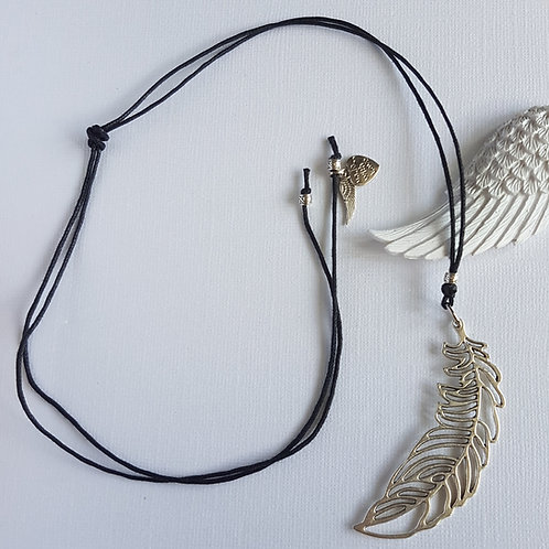 Black Cord Necklace with Feather Charm