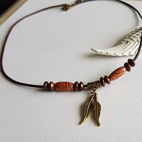 Brown Leather Cord Pendant with Feather Charms
