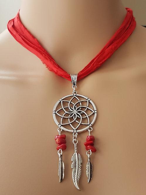 Red Sari Silk Dreamcatcher Necklace