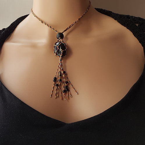 Multicoloured macrame pendant with crystal