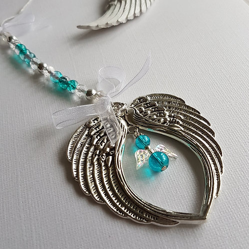 Angel Wing Hanging Decoration with Turquoise Angel