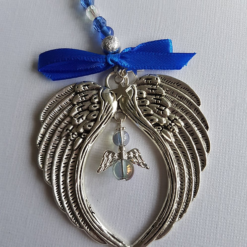 Angel Wing Hanging Decoration with Blue Angel