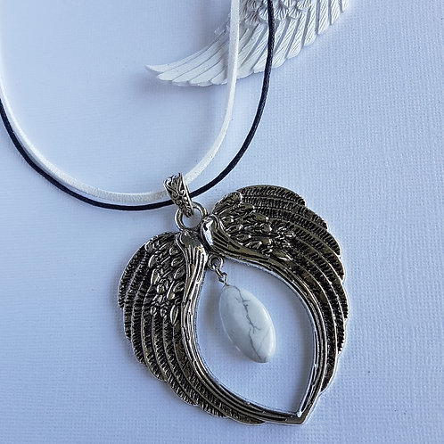 White Howlite Angel Wing Pendant