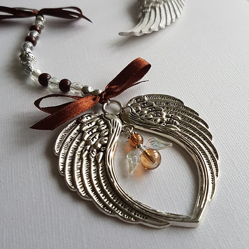 Angel Wing Hanging Decoration with Brown Angel