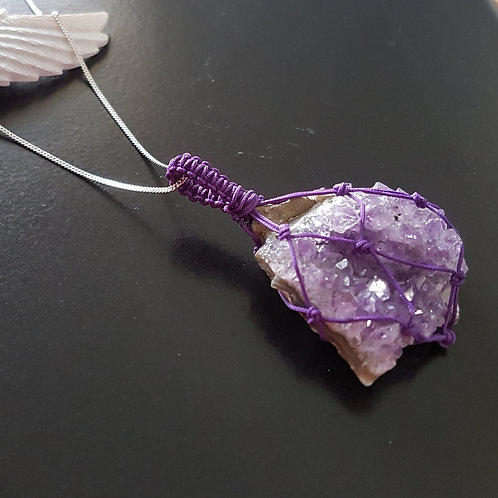 Amethyst Cluster Macrame Necklace