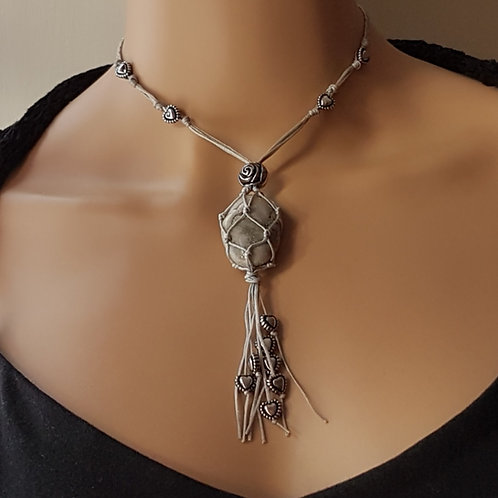 Grey Macrame Necklace