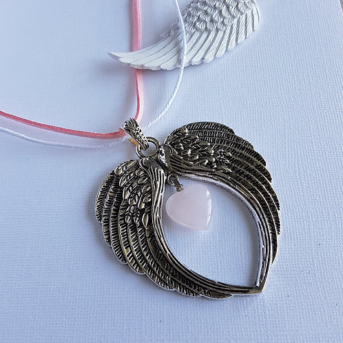 Rose Quartz Angel Wing Pendant