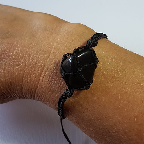 Black Obsidian Macrame Bracelet