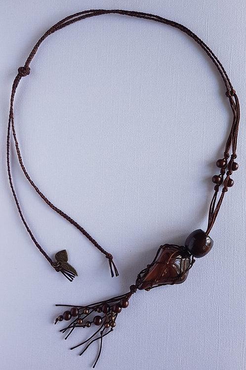 Dark brown macrame pendant with crystal