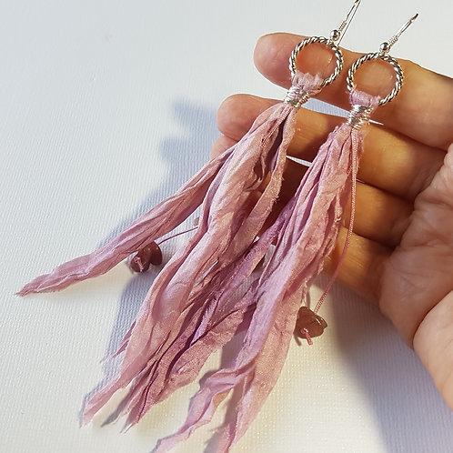 Pink Sari Silk Earrings