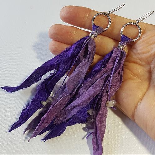 Purple Sari Silk Earrings