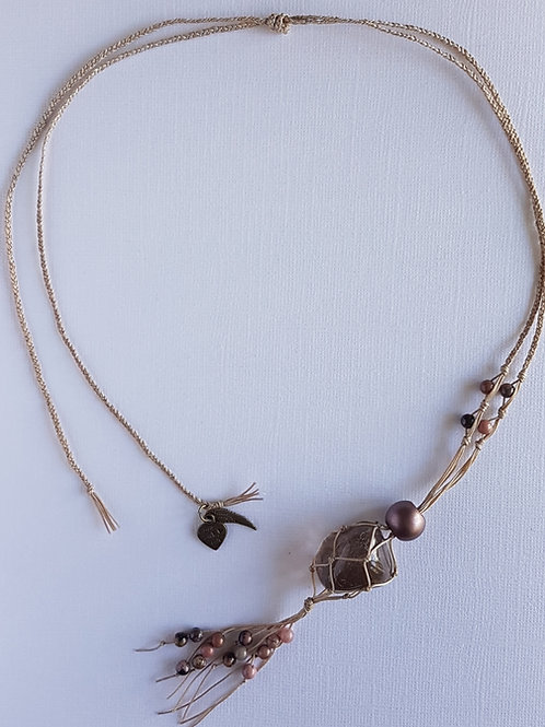 Beige macrame pendant with crystal