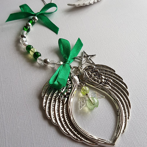 Angel Wing Hanging Decoration with Green Angel