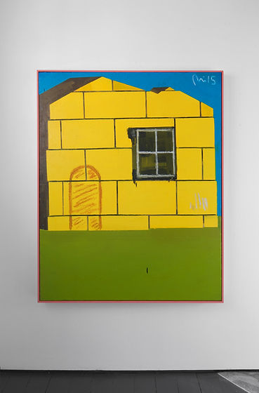 Rae Hicks - Yellow House 2015 150cm x 120cm Oil on sack and wooden frame