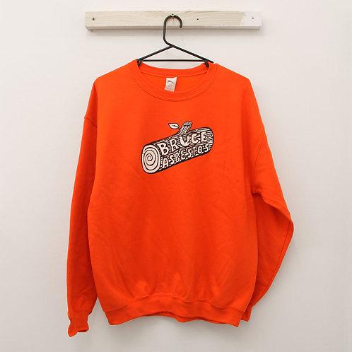 Fire Orange Sweatshirt with Leaf Embroidery