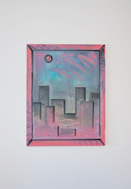 Rae Hicks - Old Town 2016 80cm x 60cm oil and spraypaint on linen sack