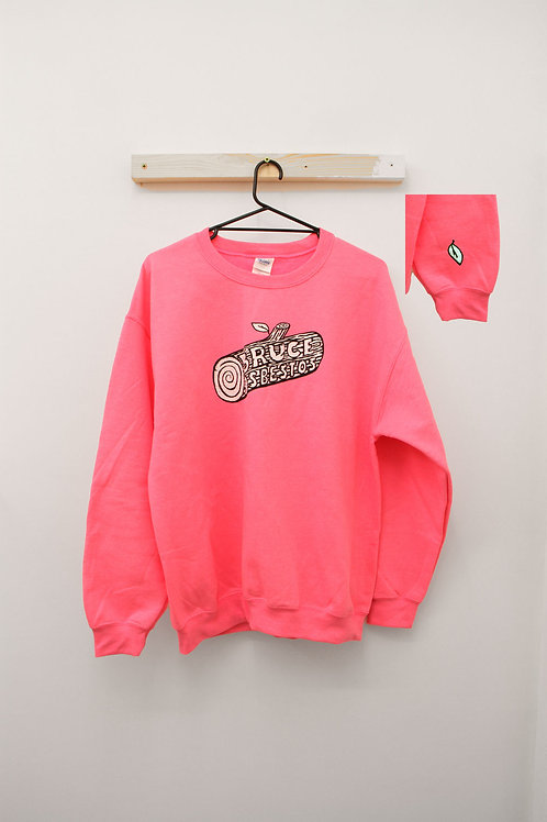 Sweetie Pink Sweatshirt with Leaf Embroidery