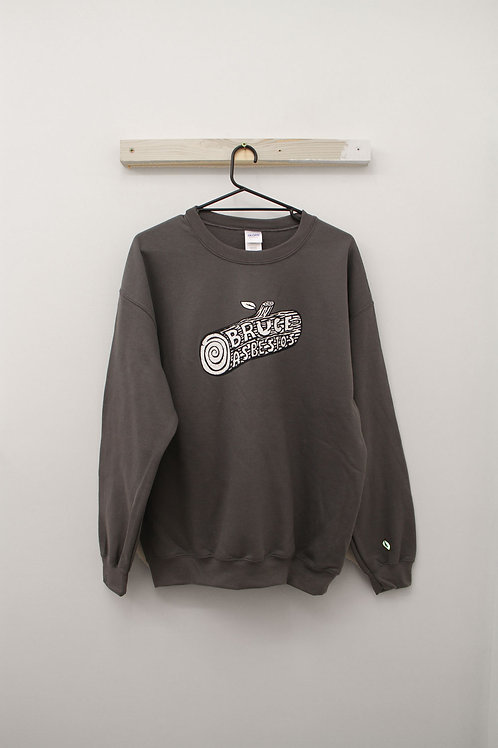 Coal Grey Sweatshirt with Leaf Embroidery
