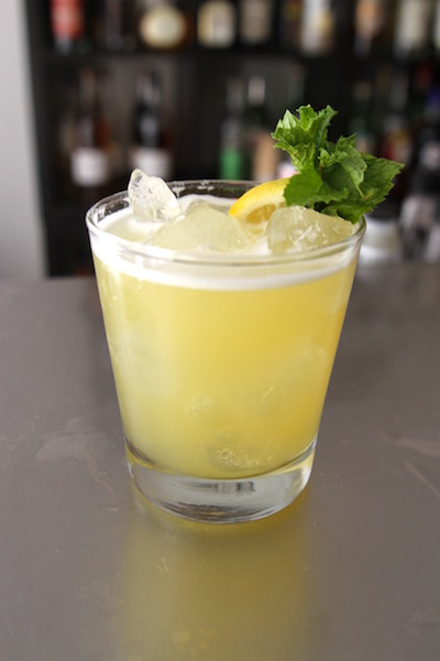 A classic Bee's Knees with  Yellow Chartreuse and pineapple juice.