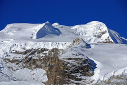 12 03 Mera Peak From Above Kongme Dingma Showing Route Of Ascent, Mera Central S