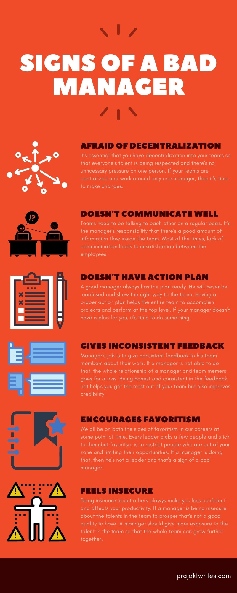 infographic for a bad manager signs