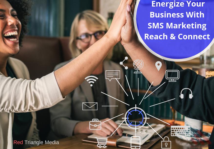2 women celebrating sms marketing business success.