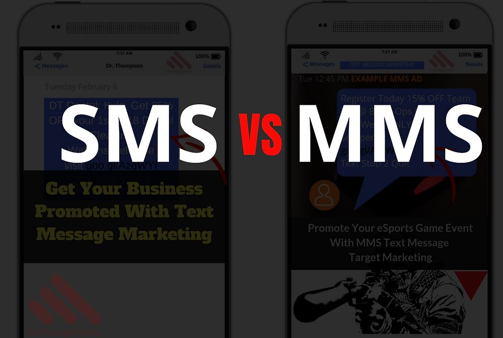 sms vs mms text marketing campaigns on two phones