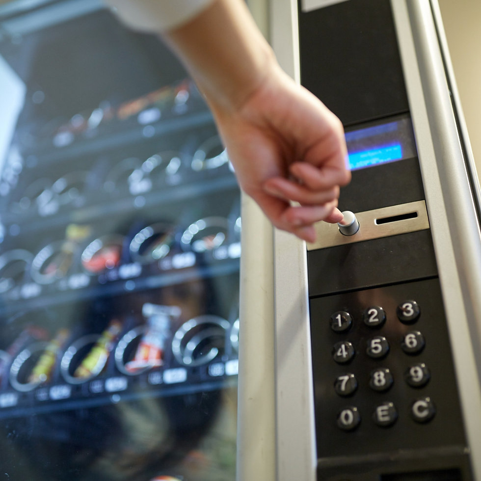 sell, technology and consumption concept - hand pushing button on vending machine operation panel_ed