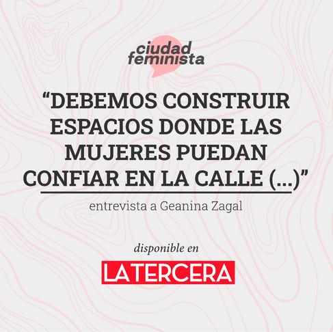 Entrevista de Geanina Zagal para La Tercera.