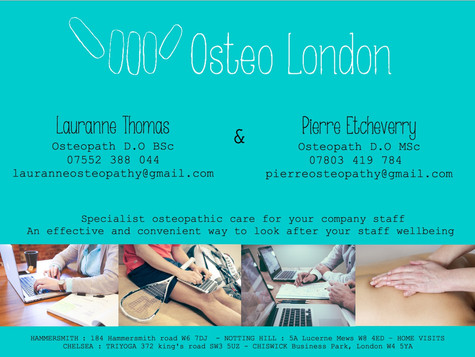We now come to your company !  We provide osteopathy within your work-place which is both an effecti
