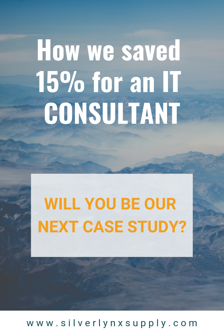 pinnable image on with text reading how we saved 15% for an IT consultant