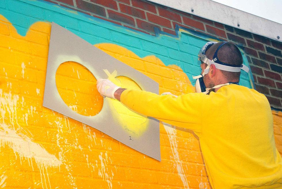ArtJohn painting Teviot mural stencil spray paint yellow