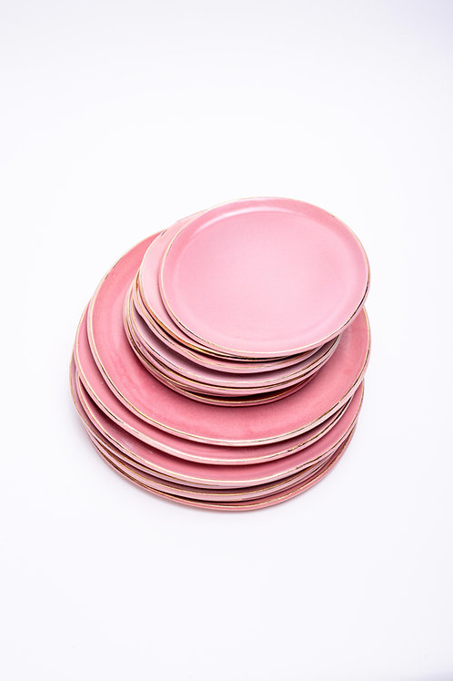 Plate set small+big pink with golden edge