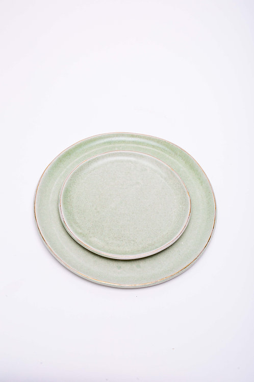 Plate set big green with golden edge