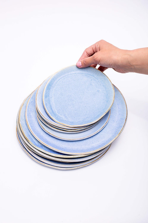 Plate set small+big blue with golden edge
