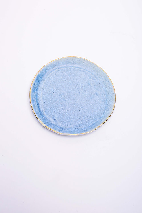Plate set small blue with golden edge