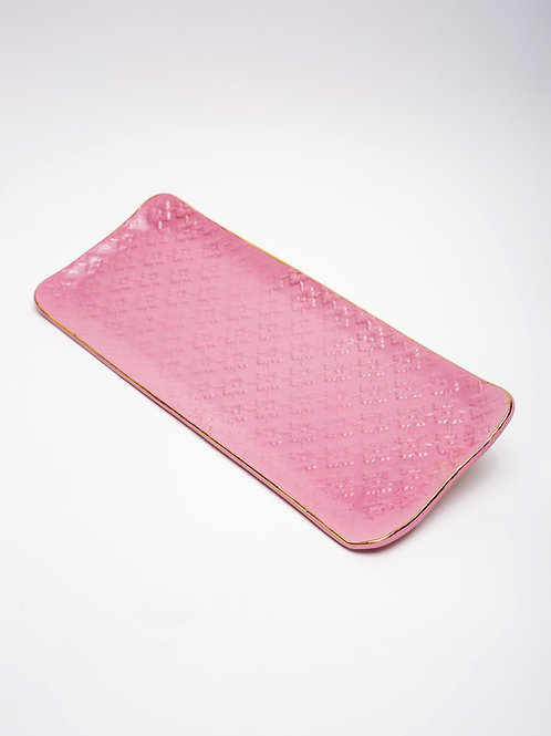 Large Tray Pink with golden edge