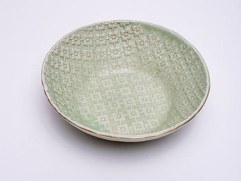 Salad bowl Green with golden edge