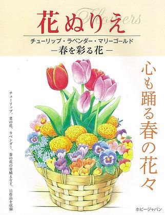 花ぬりえ チューリップ、ラベンダー、マリーゴールド 春を彩る花