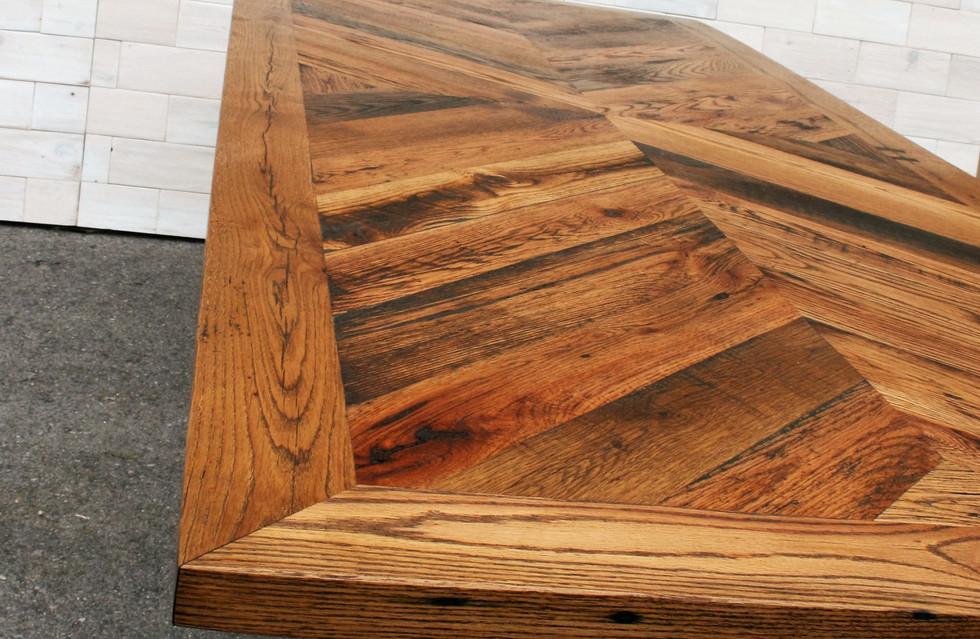 Reclaimed Oak Dining Table with Steel X Legs