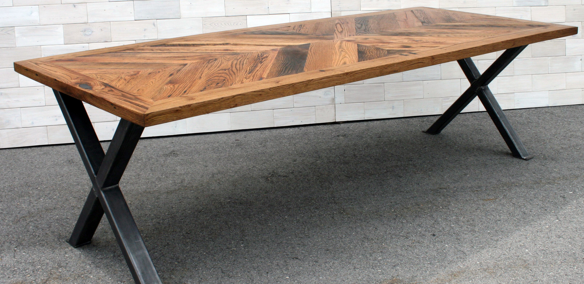 Reclaimed Oak Dining Table with Steel X Legs