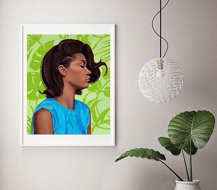 "Post Modern Design Portrait Print ""Aqua Bloom"""