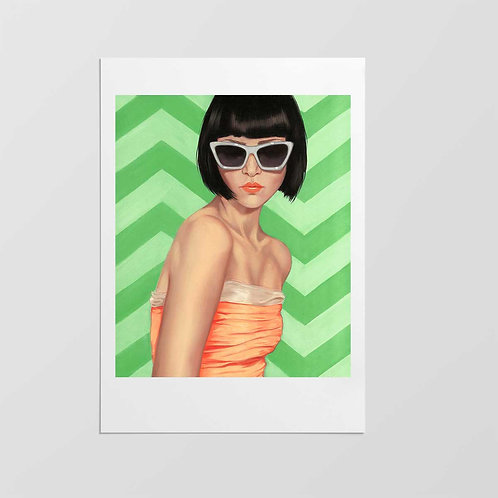 "Post Modern Design Portrait Print ""Lady Kat Loves Chevron"""